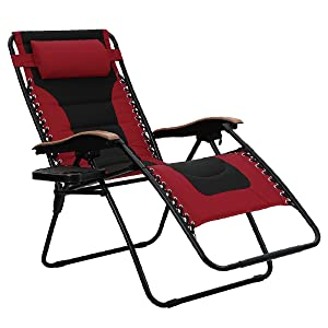 PHI VILLA Oversize XL Padded Zero Gravity Lounge Chair Wider Armrest Adjustable Recliner with Cup Holder, Support 350 LBS, Red