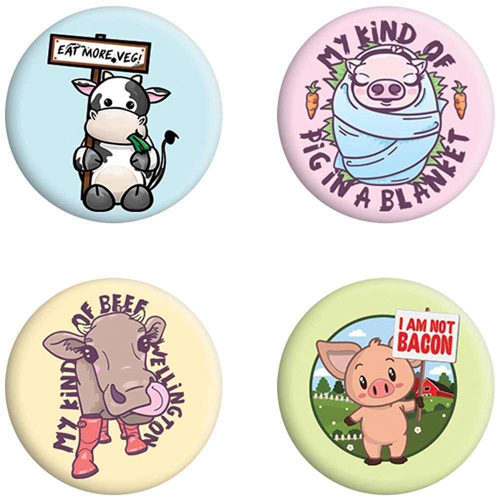 Lot de badges mixtes Eat More Veg (Végétarien, végétalien, vegan)