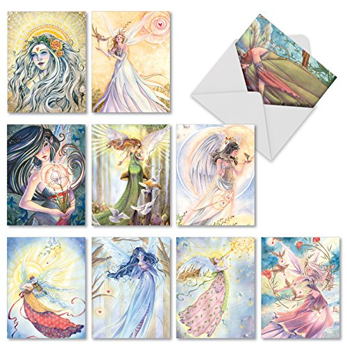 M3970 Winged Women: 10 Assorted Blank All-Occasion Note Cards Featuring Inspirational Illustrations Of Angels And Fairies, w/White (Angels Note Card)