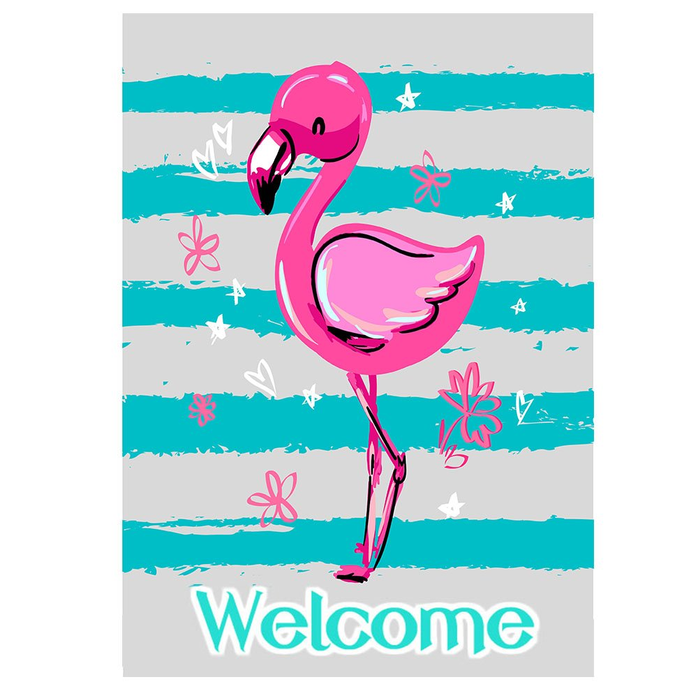 ALAZA Pink Flamingo Welcome Summer Funny Polyester Small Mini Garden Yard Flag 12'' x 18'' Double Sided, Tropical Bird Flower Flamingo Blue Stripe Decorative Flag Banner for Outdoor Home Decor Party