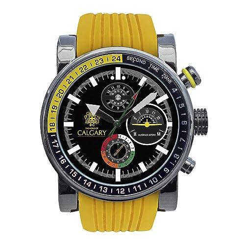 Relojes Calgary Mugello Sport. Reloj Deportivo para Hombre, Correa de Caucho Amarillo, Esfera Color Negro: Amazon.es: Zapatos y complementos
