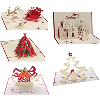 3d christmas cards pop up greeting holiday cards gifts for xmasnew year - Christmas Cards
