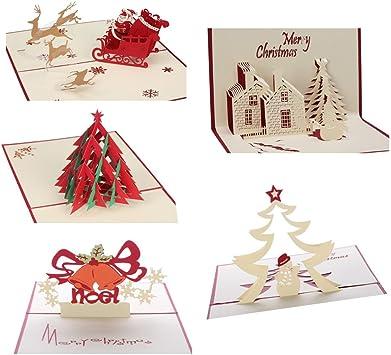 Amazon.com: Tarjetas de Navidad 3D Pop Up Tarjetas de ...