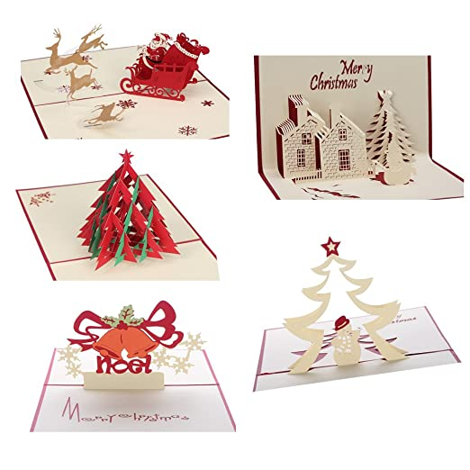 amazoncom 3d christmas cards pop up greeting holiday cards gifts for xmasnew year office products