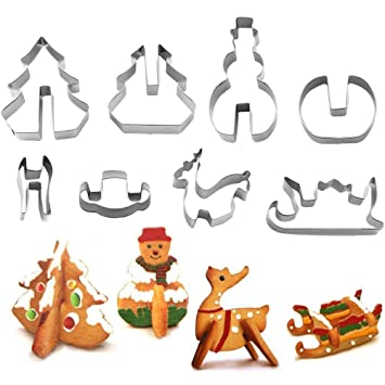 YuamMei 3D Juego de cortadores de galletas de Navidad, galletas de acero inoxidable Las moldes para hornear de bricolaje contienen formas de árboles de ...