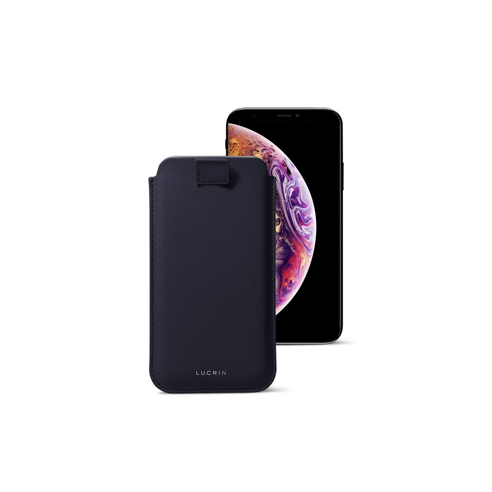 Lucrin - Pull Tab Slim Sleeve Case Compatible with iPhone Xs/iPhone X and Wireless Charging - Navy Blue - Genuine Leather