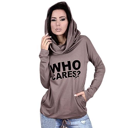 OverDose Mujeres Impresión de la Letra de la Manga Larga Camiseta Ocasional de la Camiseta Remata la...