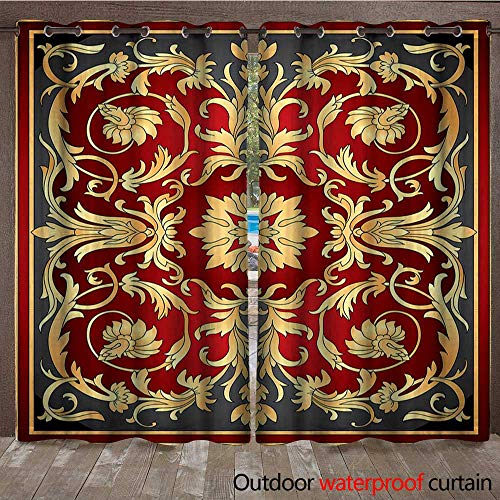 Turkish Pattern Outdoor Curtain Panel for Patio Ottoman Spiral Foliage Pattern Frame Filigree Style Royal and RetroW120 x L96 Ruby Mustard ()