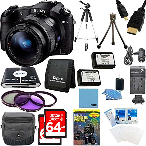 Sony Cybershot DSC-RX10 Digital Camera with 2 64GB SDXC Cards Plus Dual Battery Accessories Bundle