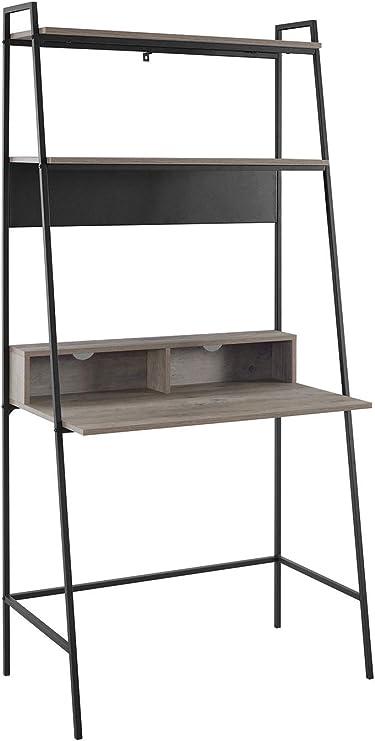 WE Furniture - Escritorio Escalera de Metal y Madera para Sala de Estar, 91,4 cm, Color Gris: Amazon.es: Juguetes y juegos