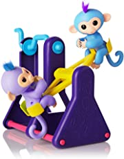 "WowWee Fingerlings Playset – See-Saw with 2 Baby Monkey Toys, ""Willy"" (Blue) and ""Milly"" (Purple)"