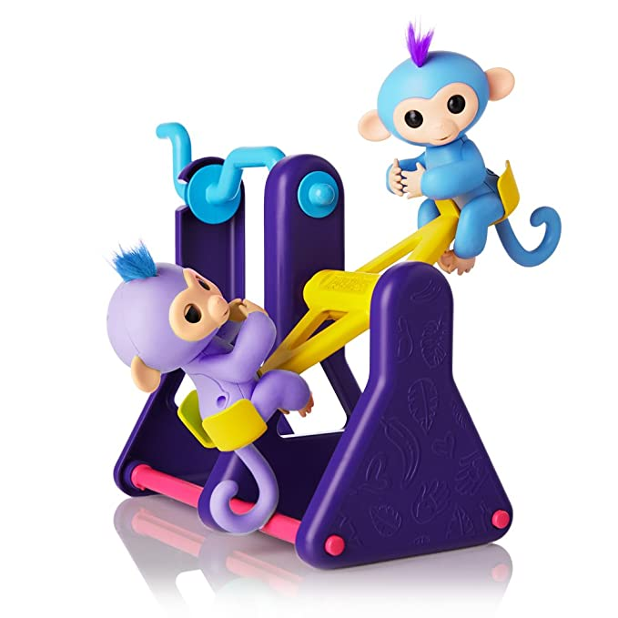 """WowWee Fingerlings Playset - See-Saw with 2 Baby Monkey Toys, """"Willy"""" (Blue) and """"Milly"""" (Purple)"""