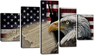 """5 Piece Large Bald Eagle American Flag Canvas Painting USA Statue of Liberty Flag Wall Art Vintage Poster Patriotic Picture Print Artwork Home Decor for Living Room Framed Ready to Hang (60"""" Wx40 H)"""