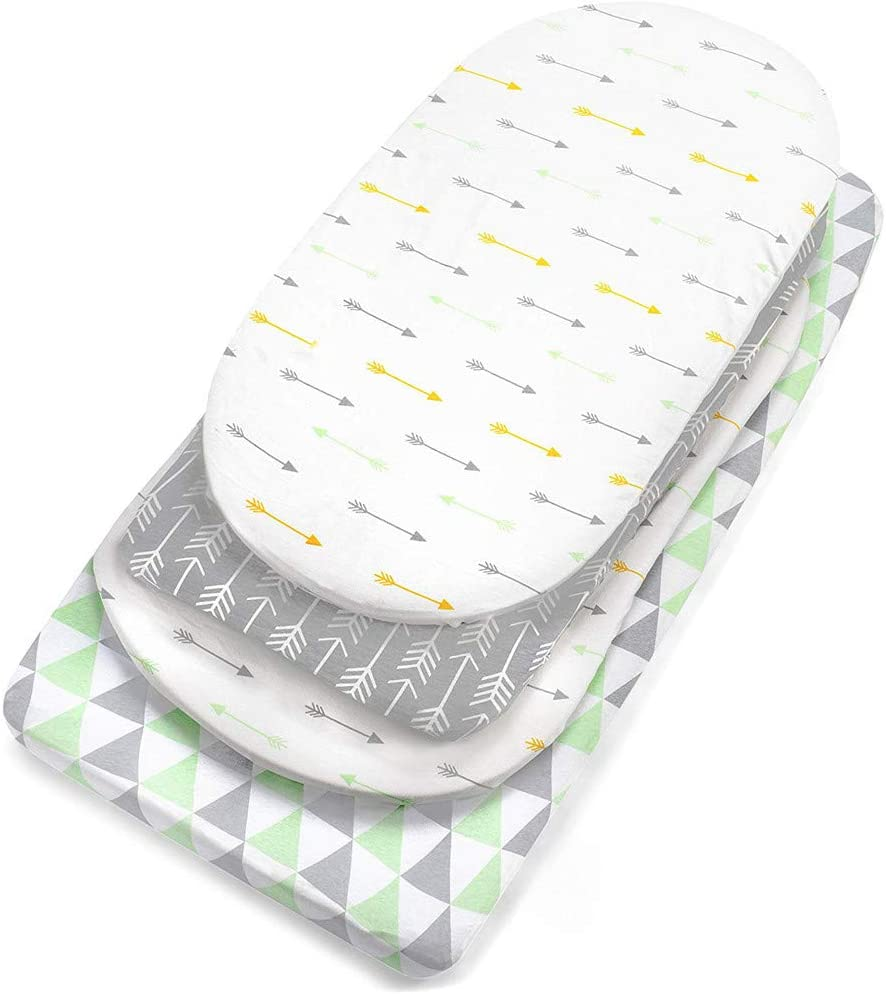 Baby Bed Sheet,3PC Soft Baby Bassinet Set Cradle Fitted Sheets for Mattress Pads Sleeper Cover
