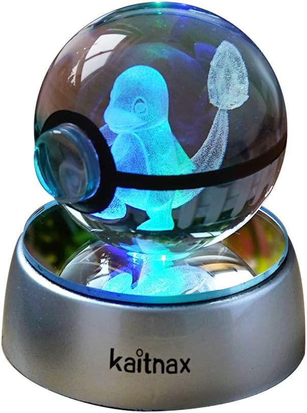 3d Crystal Ball Lamp Laser Engraving Image in the Ball LED Color Change Base (Charmander)