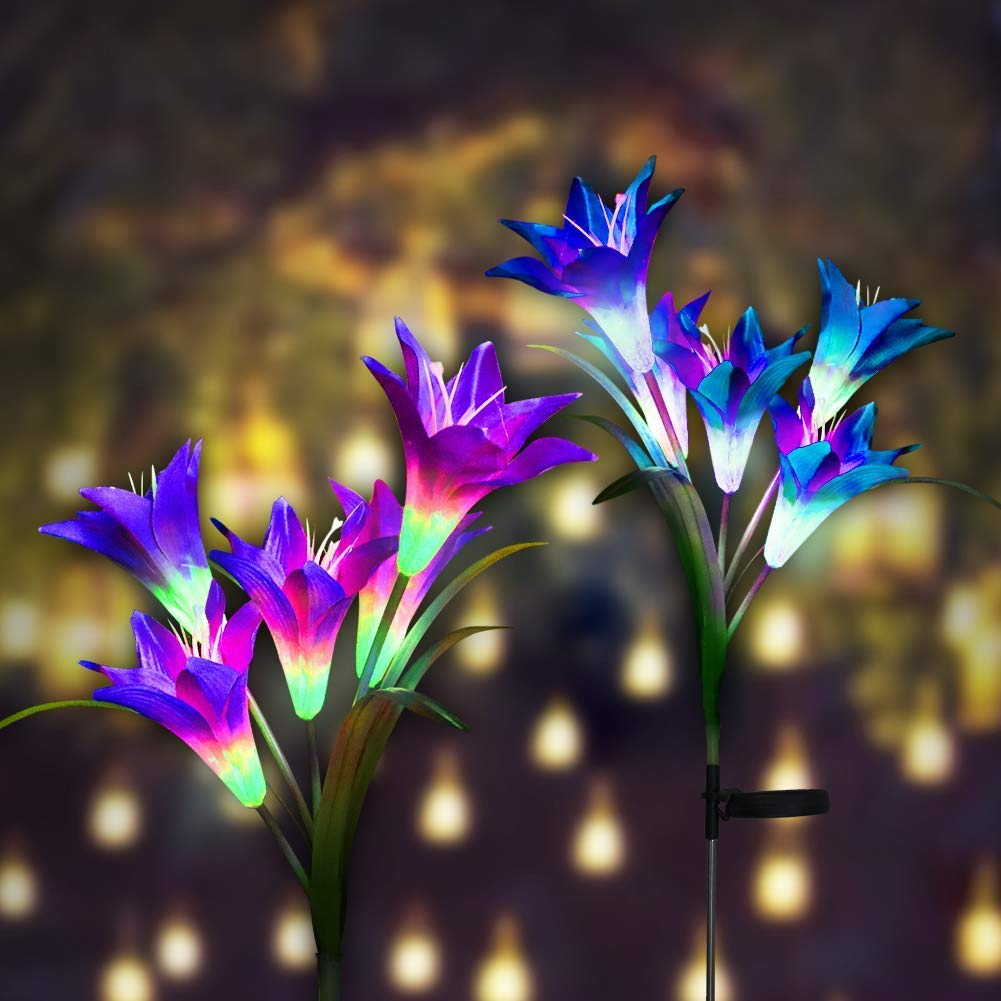 Solar Stakes Lights,  Outdoor Light with  Lily Flower, Multi-color Changing LED Solar Decorative Lights for Path ,Garden, Patio and Yard-2 Pack (Purple and White)