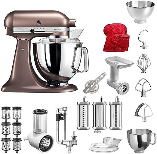 Robot de cocina de KitchenAid Artisan, modelo 5KSM175PS; el paquete incluye-Accesorios principales:Cortador de verduras, picadora, cortador en espiral, accesorio de pasta, accesorio de galletas, cubierta y accesorios estándar. Macadamia: Amazon.es: Hogar