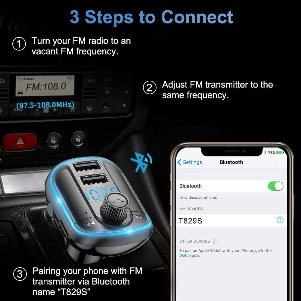 Micro SD Card Wireless Car Radio Adapter USB Flash Drive Support Siri Google Assistant LED Backlit QC 3.0 Charging Port FM Transmitter for Car Bluetooth 5.0 Music Player Car Kit with Hands Free Calling Dual USB Port