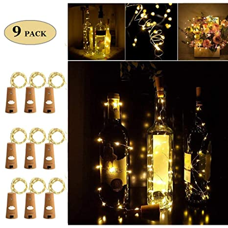Adecorty Corcho Corcho Botella Luces con luces para botella 9 Pack 6.5ft 20 LED luces