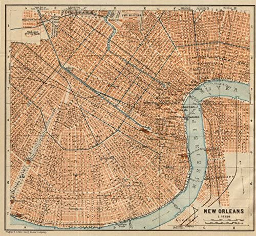 vintage new orleans map Amazon Com New Orleans City Plan French Quarter Mid City Treme vintage new orleans map
