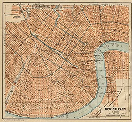 Antique New Orleans Map.Amazon Com New Orleans City Plan French Quarter Mid City Treme