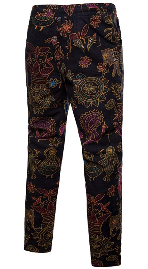 Rrive Mens Drawstring Plus Size Linen Ethnic Print Long Pants Trousers