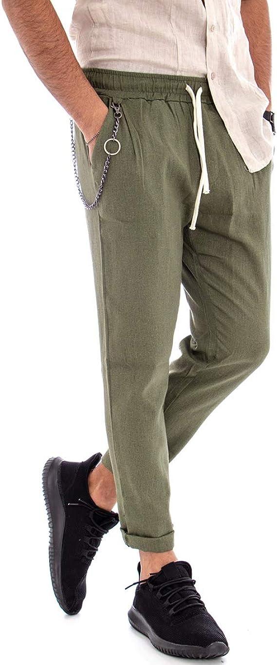 Giosal - Pantalón de Hombre de Lino de Color Liso, pantalón de ...
