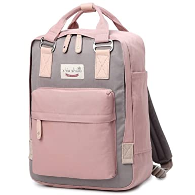 1bbafc3e46 Water-resistant School Backpack Girls Women Travel Bag fits 14inch Laptop  for Student (Pink01