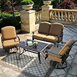 DOMI OUTDOOR LIVING Patio Furniture Dining Set 4 PCS Garden Outdoor Indoor Furniture Set with 2 Swivel Chairs, Conversation (Chat) Set, Antique Bronze Cast Aluminum For Sale