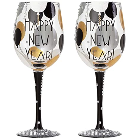 amazoncom set2 blinging new year wine glass mouth blown hand painted jeweled wine glasses