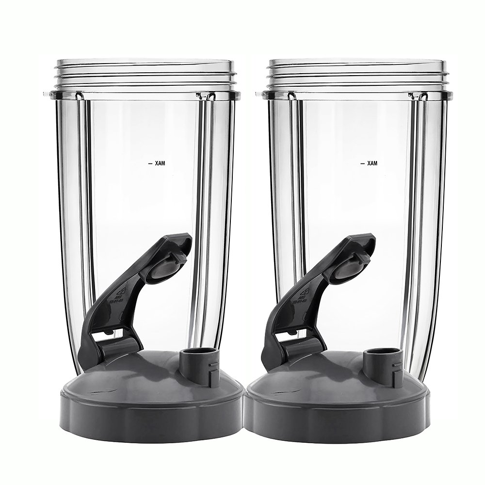 QueenTrade 2Set Replacement 24OZ Tall Cup with Flip Top to Go Lids For Nutribullet 600w & Nutribullet Pro 900w Blender (Not For Magic Bullet or Ninja blenders