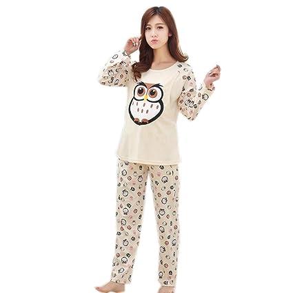 MH-RITA La mujer cálida lactancia dormir 2pcs camisas y pantalones lindo femenino pijamas de
