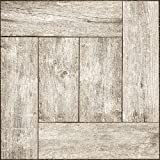 "linoleum floor tiles  Adorn FLRA-12N021-06 Adhesive Decorative and Removable Vinyl Floor, Wood Palette, Set of 6-12""x12"" Tiles"