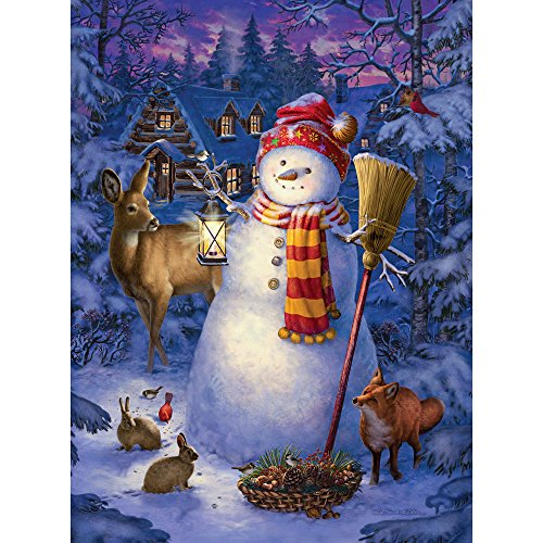 Bits and Pieces - 300 Large Piece Glow in the Dark Puzzle for Adults - Night Watch Snowman by Artist Liz Goodrick Dillon - Winter Holiday - 300 pc Jigsaw