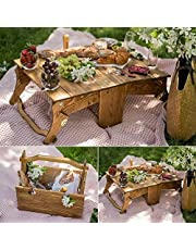 GOODZH - Folding Picnic Basket Table, Foldable Portable 2-in-1 Picnic Table Basket, Outdoor Wine and Snack Table for Family Picnics Camping Garden Beaches (10pcs)