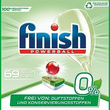 Pastillas para lavavajillas Finish 0%, limpieza brillante sin fragancias ni conservantes, 3 paquetes (3 x 23 unidades)