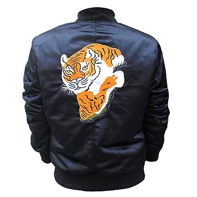 e07d29ec2 New Man's Rocky II Tiger Logo Patch Balboa Satin Bomber Black Elegant Jacket  at Amazon Men's Clothing store: