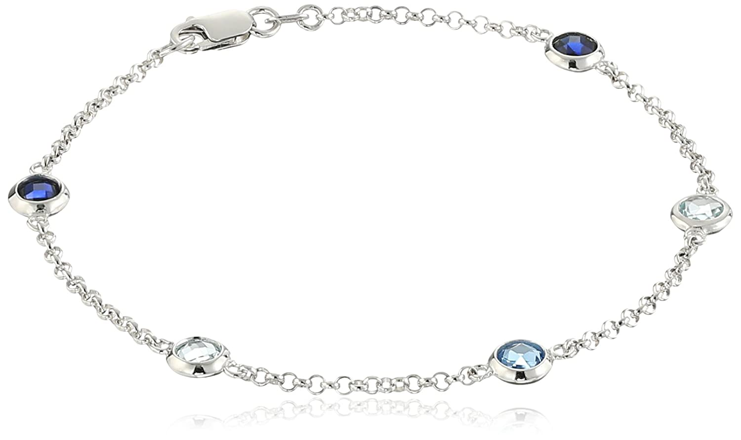 Rhodium Plated Sterling Silver Sky Blue Topaz, Lab-Created Aquamarine and Created Blue Sapphire Bezel Set Bracelet, 7.25""