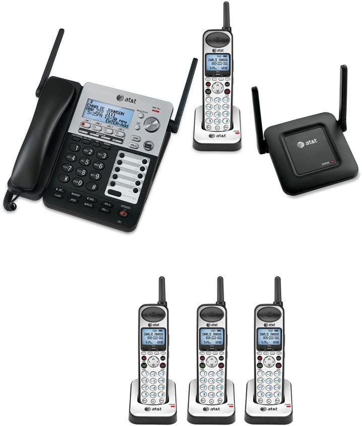 AT&T SB67138 SynJ 4-Line Extendable Range Corded-Cordless Phone System with 4 Extra Handsets and DECT 6.0 Range Repeater