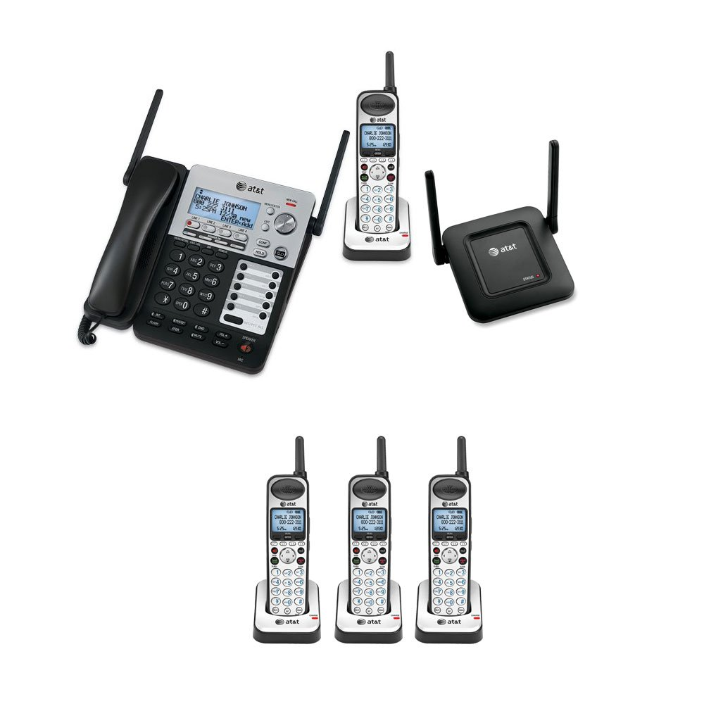 AT&T SB67158 SynJ 4-Line Extendable Range Corded-Cordless Phone System with 4 Extra Handsets and DECT 6.0 Range Repeater