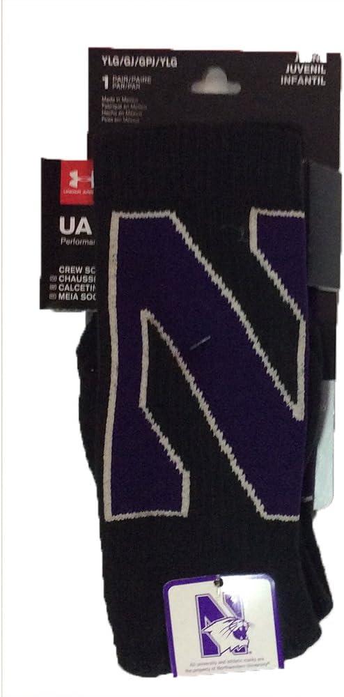 Northwestern Wildcats Under Armour NCAAブラックパフォーマンスYouthクルーソックス