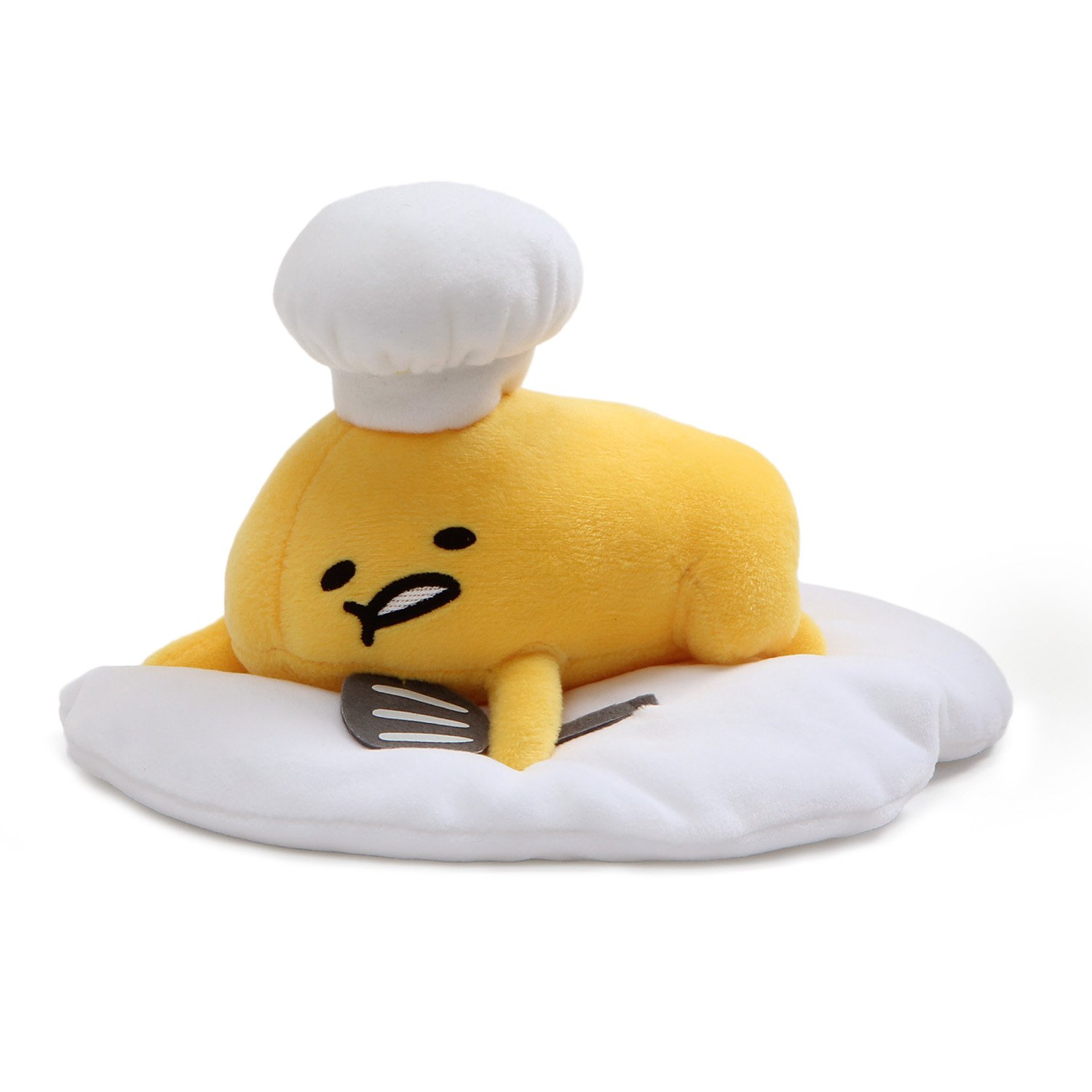 "GUND Gudetama ""Lazy Chef Egg with Hat and Spatula"" Stuffed Animal Plush, 7.5"""