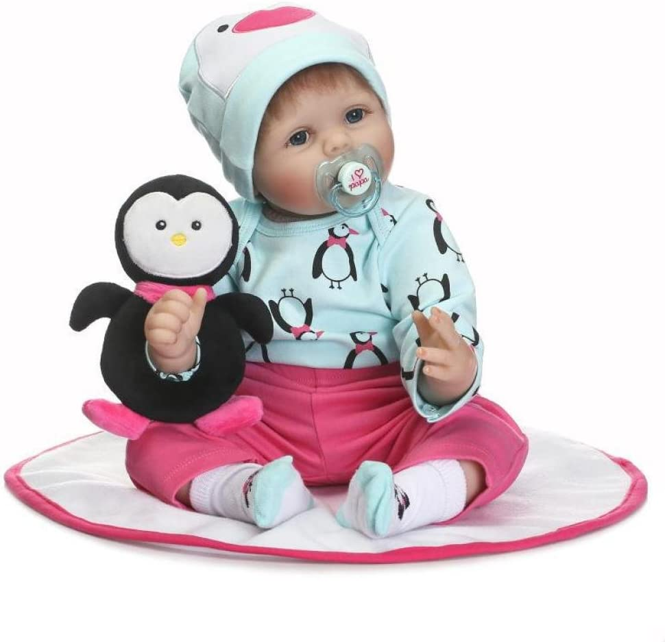 H Infant Toddler Cute Baby Shower Toy Gift Diadia Magnetic Pacifier Simulation Dolls Reborn Doll Baby Toy Baby Nipple Newborn Blue