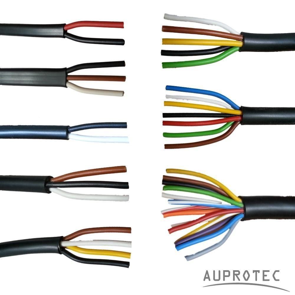 Kfz Leitung 2 - 13 polig Anhängerleitung PKW LKW Meterware Auswahl: (2 adrig 2 x 2.5 mm² Flachleitung) AUPROTEC