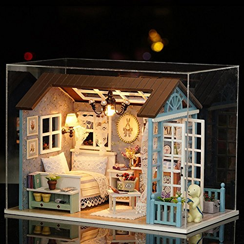 Flever Dollhouse Miniature DIY House Kit Creative Room With Furniture for Romantic Gift (Forest Time Plus Dust Proof Cover) (Room Box Kit)