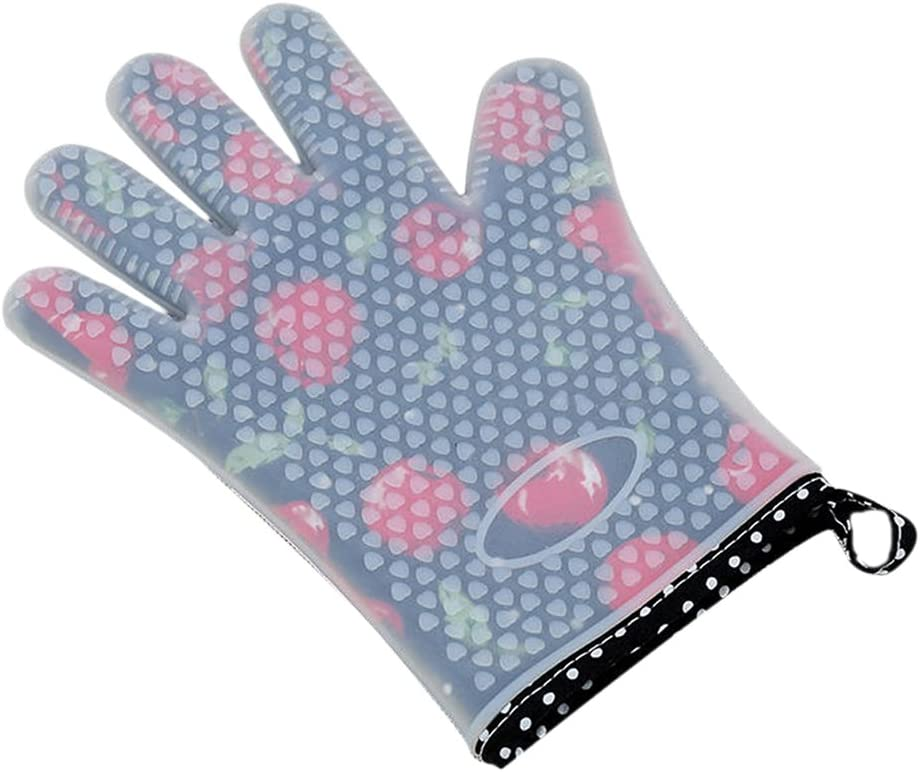 Lanburch Set of 2 Oven Mitts Heat Resistant Silicone Oven Mitts Cherry Oven Gloves Five Fingers Waterproof Silicone Kitchen Mitts for Women