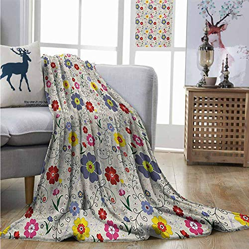 Degrees of Comfort Weighted Blanket Floral Flower Pattern with Butterflies and Dragonflies Colorful Spring Nature Illustration Lightweight Thermal Blankets W40 xL60 Multicolor