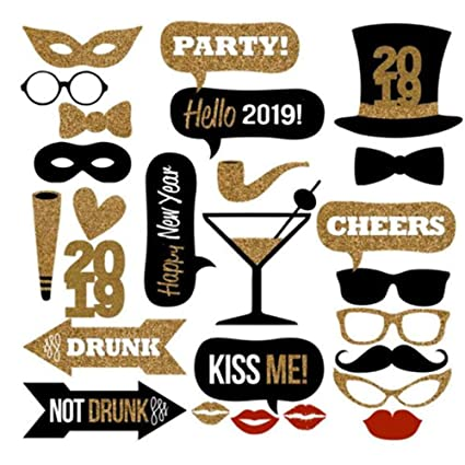 Christmas Party 2019 Clipart.2019 Happy New Year Eve Photo Booth Props Christmas Party Decorations 26pcs