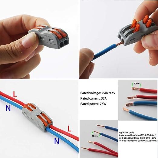 15 conectores SPL-2 para tuercas de palanca bloque de terminales de barra de presi/ón de 4 agujeros surtido de conductores bilaterales conectores de cable compactos