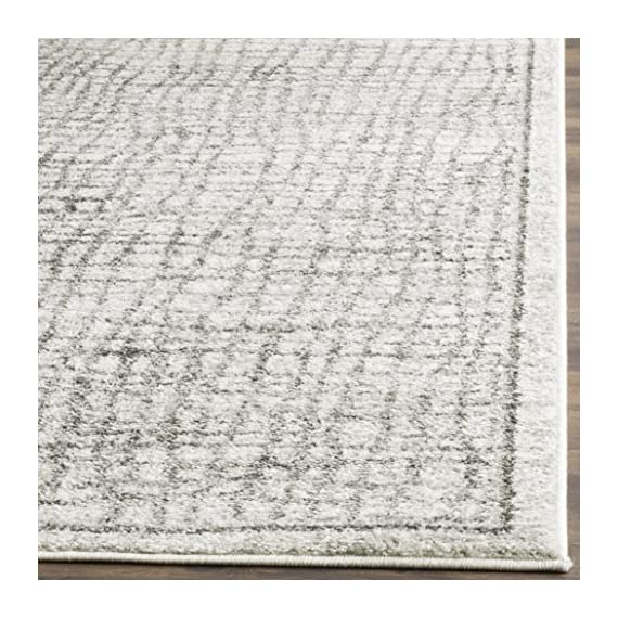 Safavieh Adirondack Collection ADR103B Silver and Ivory Modern Distressed Area Rug (4' x 6') - The high-quality polypropylene pile fiber adds durability and longevity to these rugs The power loomed construction add durability to this rug, ensuring it will be a favorite for a long time The modern style of this rug will give your room a contemporary accent - living-room-soft-furnishings, living-room, area-rugs - 61a3kgoIbAL. SS570  -